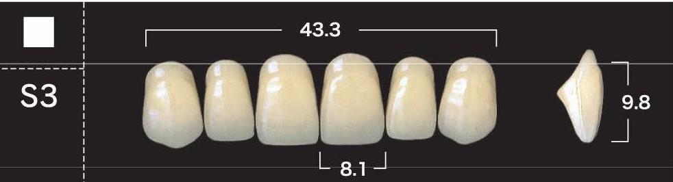 "Зубы""GLORIA NEW ACE""фасон S3, цвет А2 (28шт.)"