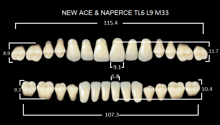 "Зубы""GLORIA NEW ACE""фасон TL6, цвет А2 (28шт.)"