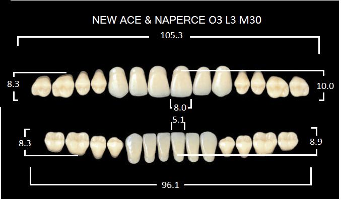 "Зубы""GLORIA NEW ACE""фасон O3, цвет А3 (28шт.)"