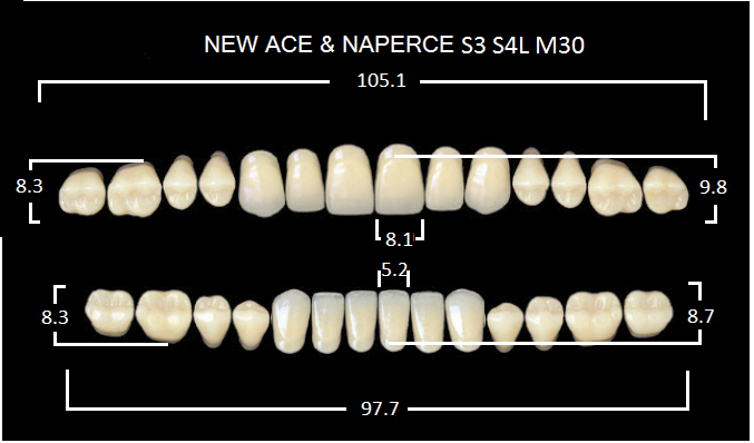 "Зубы""GLORIA NEW ACE""фасон S3, цвет А3 (28шт.)"