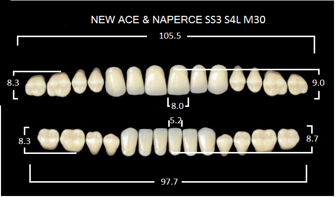 "Зубы""GLORIA NEW ACE""фасон SS3, цвет А3 (28шт.)"