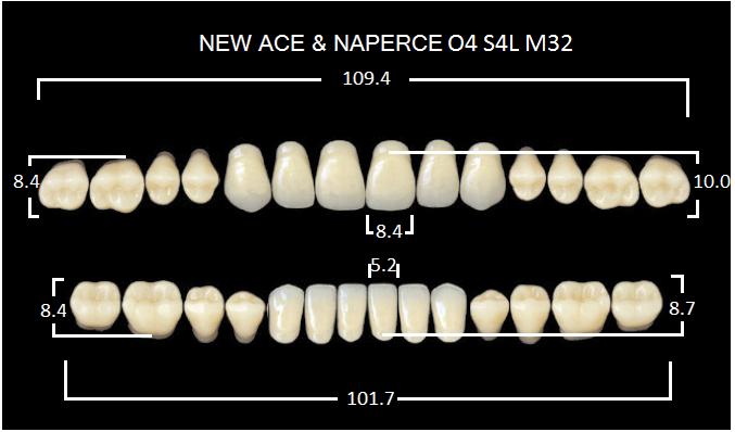 "Зубы""GLORIA NEW ACE""фасон O4, цвет А2 (28шт.)"