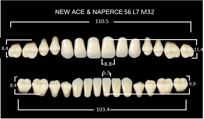"Зубы""GLORIA NEW ACE""фасон S6, цвет А3.5 (28шт.)"