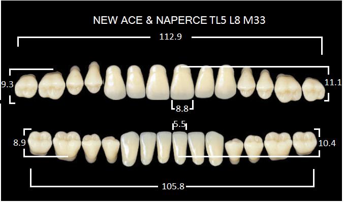 "Зубы""GLORIA NEW ACE""фасон TL5, цвет А3.5 (28шт.)"