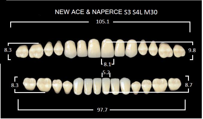 "Зубы""GLORIA NEW ACE""фасон S3, цвет А4 (28шт.)"