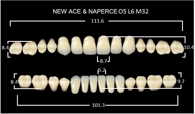 "Зубы""GLORIA NEW ACE""фасон O5, цвет А2 (28шт.)"