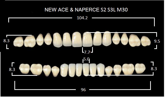 "Зубы""GLORIA NEW ACE""фасон S2, цвет А3.5 (28шт.)"