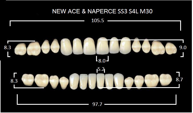 "Зубы""GLORIA NEW ACE""фасон SS3, цвет С3 (28шт.)"