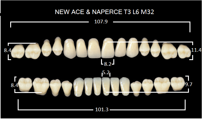 "Зубы""GLORIA NEW ACE""фасон T3, цвет А3,5 (28шт.)"