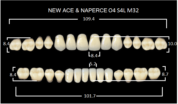 "Зубы""GLORIA NEW ACE""фасон O4, цвет B3 (28шт.)"