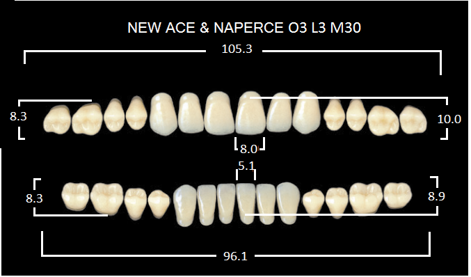 "Зубы""GLORIA NEW ACE""фасон O3, цвет B3 (28шт.)"