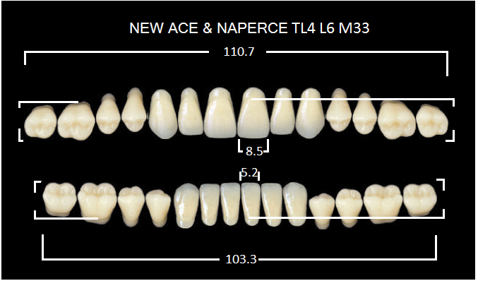 "Зубы""GLORIA NEW ACE""фасон TL4, цвет А2 (28шт.)"