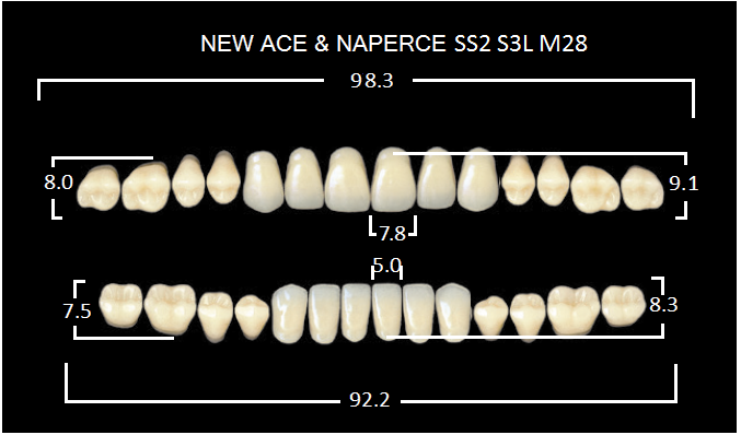 "Зубы""GLORIA NEW ACE""фасон SS2, цвет А3  (28шт.)"