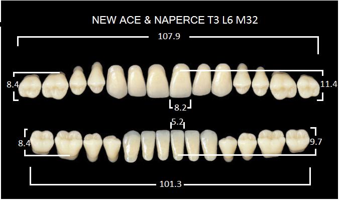 "Зубы""GLORIA NEW ACE""фасон T3, цвет А4 (28шт.)"