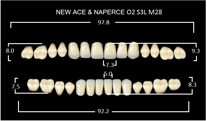 "Зубы""GLORIA NEW ACE""фасон O2, цвет D3 (28шт.)"