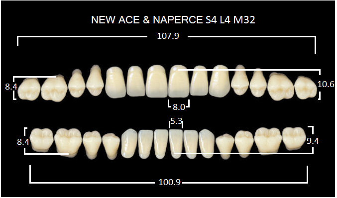 "Зубы""GLORIA NEW ACE""фасон S4, цвет А1 (28 шт)"