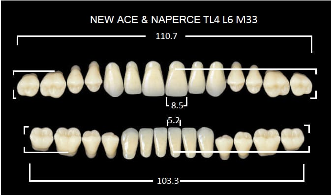 "Зубы""GLORIA NEW ACE""фасон TL4, цвет А3,5 (28 шт)"
