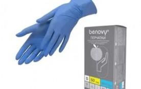 Перчатки Benovy нитриловые S голубые