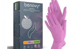 Перчатки Benovy нитриловые S розовые