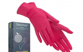 Перчатки Benovy нитриловые M красные